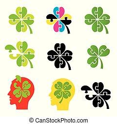 Shamrock, four leaf clover, puzzle concept.