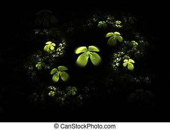 Shamrock, four leafed clover on black