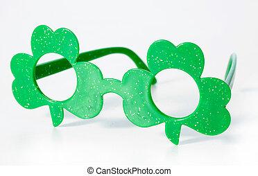 shamrock glasses - St Patricks day shaped glasses isolated...
