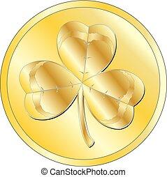 Shamrock gold coin