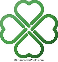 Shamrock - green gradient thick outline four leaf clover icon. Good luck theme design element. Simple geometrical shape vector illustration.
