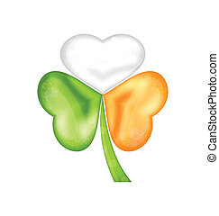 Shamrock in Irish flag color for saint patrick day