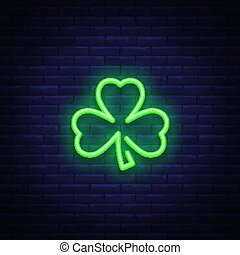 Shamrock is a neon sign. Neon icon, light symbol, web banner for your projects. Vector illustration