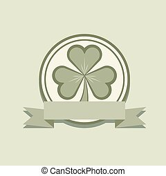 Shamrock label flat design with blank banner vector template.