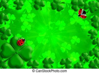 Shamrock Leaves Lucky Ladybug for St Patricks Day