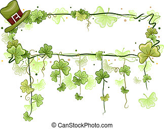 Shamrock Vine Frame - Illustration of a Frame with a Saint...