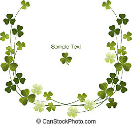 Shamrocks border decoration. Clover. For St.Patric day. Using Clipping mask, transparency. EPS10.