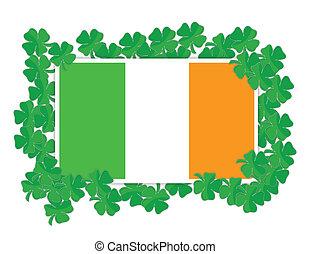 shamrocks, drapeau, irlandais, autour de