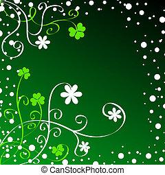Shamrocks foliage on green background