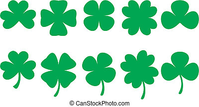 Shamrock shapes for St. Patrick's Day designs. Vectorial drawing.