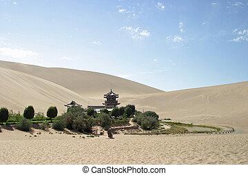 shan, dunhuang, lago, china, crescente, mingsha