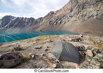 shan, kyrgyzstan, tien, lake., ala-kul, turist, namiot