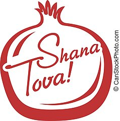 Shana Tova greeting card with shape of Pomegranate for Jewish New Year. Vector illustration.