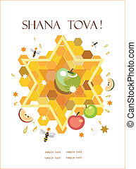 shana tova, holiday background. - symbols of jewish holiday ...