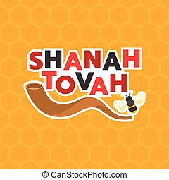 shanah, bon, fond, année, moyens, hexagone, shofar, abeille, corne, tovah