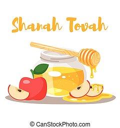 Shanah Tovah greeting card - Vector cartoon style Shanah...