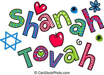 SHANAH TOVAH Jewish New Year - Simple hand drawn doodle...