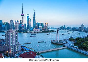 shanghai, à, crépuscule