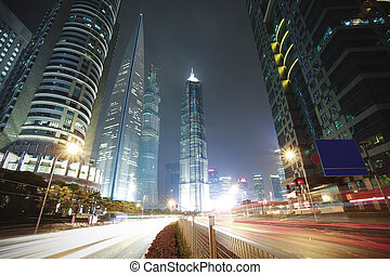 shanghai, épület, épít, tiszta égbolt, kasfogó, elhomályosul, háttér, láthatár, város, repülés