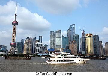 shanghai, 15:, 15, pudong, 2012, attractions, dix, -, vue, juin, horizon, une, porcelaine, juney, bund, sommet, shanghai