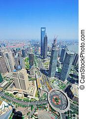 shanghai, aéreo, em, a, dia
