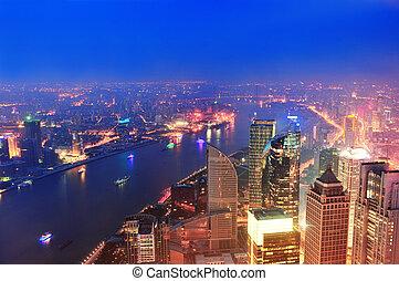 shanghai, aéreo, em, anoitecer