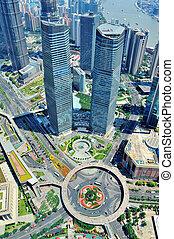 shanghai, aérien, dans, les, jour
