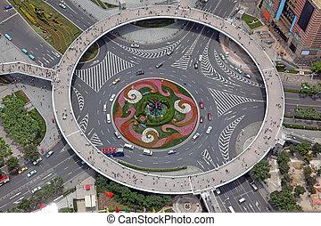 shanghai, aanzicht, luchtopnames, china, kruispunten