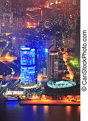 Shanghai aerial at dusk