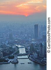 Shanghai aerial at sunset