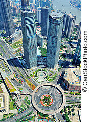 Shanghai aerial in the day - Shanghai city aerial view with ...