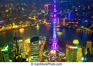 Shanghai aerial night view - Aerial view of Shanghai at...