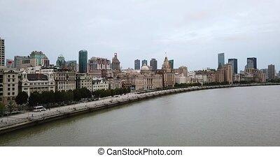 Shanghai, aerial shot of the River, Towers, quay, pier