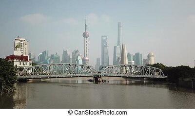 Shanghai, aerial shot of the River, Towers, quay, pier