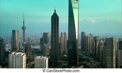 shanghai aerial - shanghai landmark