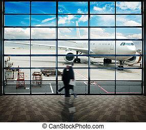 shanghai, aeropuerto, pasajero, pudong