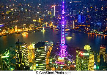 shanghai, antenna, éjszaka, kilátás