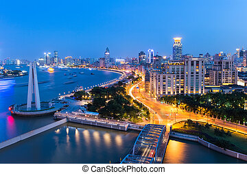 shanghai at night ,aerial view of the beautiful city road