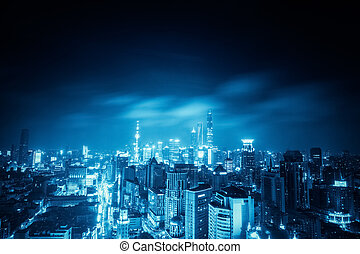 shanghai at night with blue tone