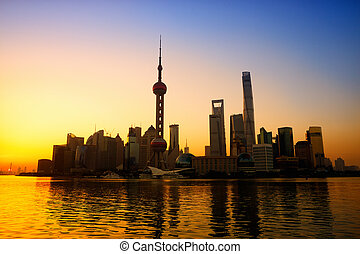 Shanghai at sunrise - Shanghai skyline at sunrise, China
