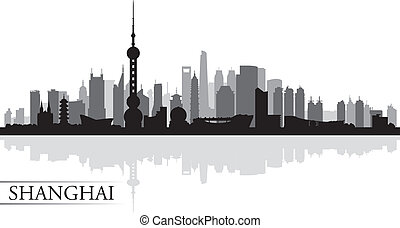 shanghai, bakgrund, horisont, stad, silhuett