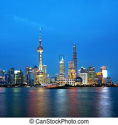 shanghai - Beautiful Shanghai Pudong skyline at dusk