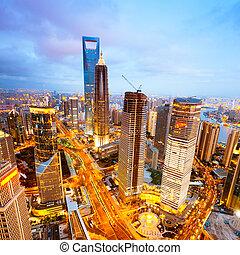 shanghai - Bird view at Shanghai China. Skyscraper under...