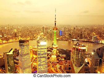 shanghai - Bird's eye view of Shanghai Pudong at night