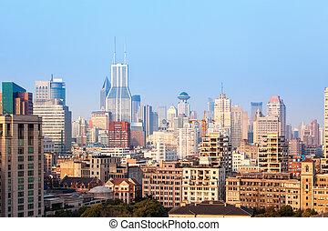 shanghai buildings in morning