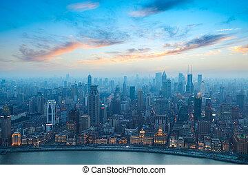 shanghai bund at sunset - bird's eye view of shanghai bund...