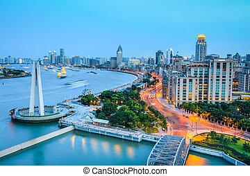 shanghai bund in nightfall - beautiful shanghai bund and...
