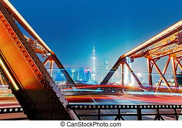 Shanghai bund night - A historic bridge at Shanghai bund...