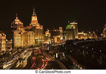 shanghai, bund, noche