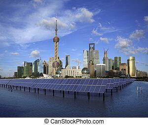 Shanghai Bund skyline landmark at Ecological energy Solar...